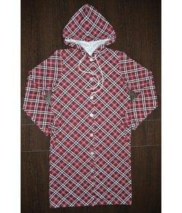 Детский халат с капюшоном бордовый