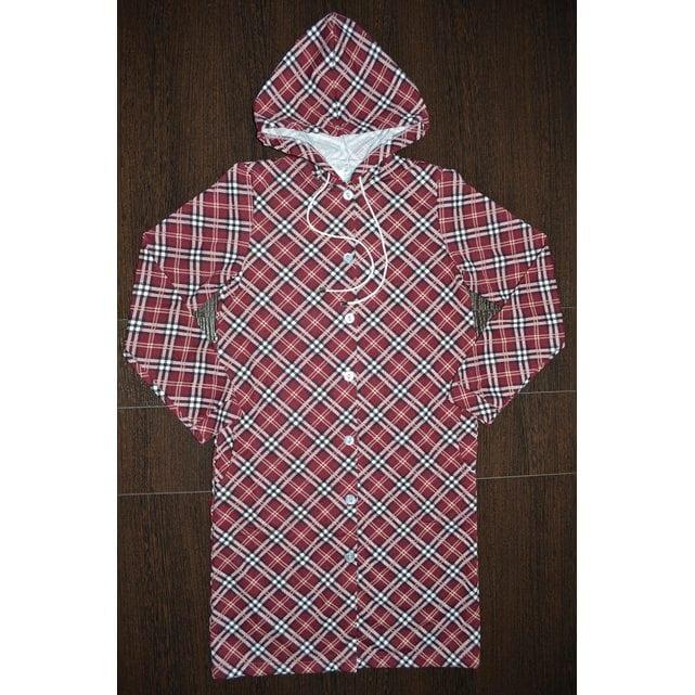 Детский халат с капюшоном на пуговицах Vistyle 8003 бордовый