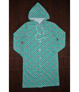 Детский халат с капюшоном зеленый