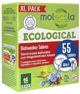 Экологичные таблетки для посудомоечных машин 55 шт Molecola