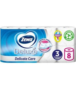 Туалетная бумага 3 слоя 8 шт Белая Deluxe Zewa