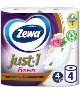 Туалетная бумага 4 слоя 4 шт Flowers Just 1 Zewa