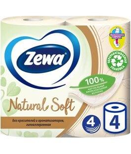 Туалетная бумага 4 слоя 4 шт Natural Soft Zewa