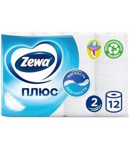 Туалетная бумага 2 слоя 12 шт Белая Плюс Zewa