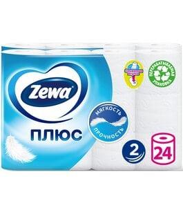Туалетная бумага 2 слоя 24 шт Белая Плюс Zewa