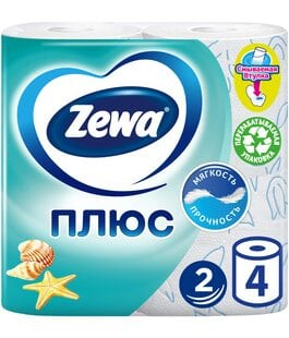 Туалетная бумага 2 слоя 4 шт Свежесть океана Плюс Zewa