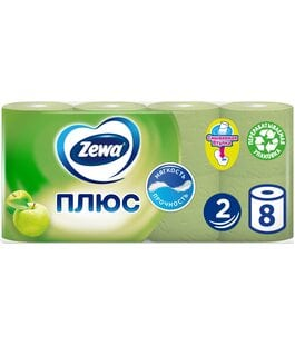 Туалетная бумага 2 слоя 8 шт Яблоко Плюс Zewa