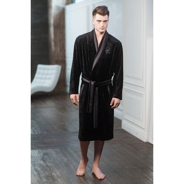 Мужской халат из бархата Laete черный 20159-2