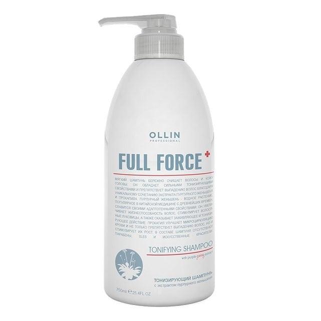 Ollin Full Force Шампунь тонизирующий с экстрактом пурпурного женьшеня 750 мл