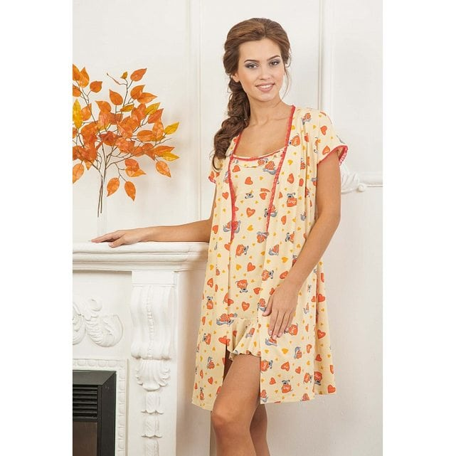 Женский халат на запах бежевый Cleo 250-211-3