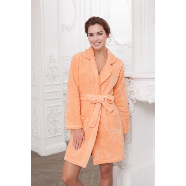 Короткий женский халат на запах апельсиновый Cleo 417