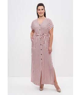 Платье 1277 розовый - синие полоски Cleo