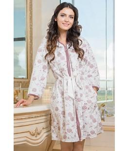 Женский халат с капюшоном Anny молочный