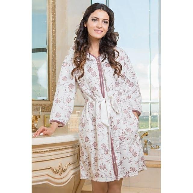 Короткий женский халат с капюшоном на молнии Mia Mia Anny 3035 молочный
