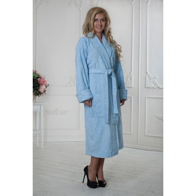 Длинный женский халат Five Wien голубой bamboo