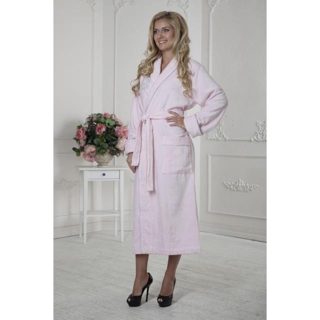 Длинный женский халат Five Wien розовый bamboo