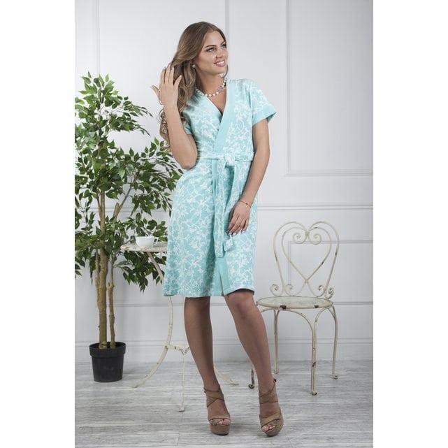 Средней длины женский халат Five Wien Marta бирюза