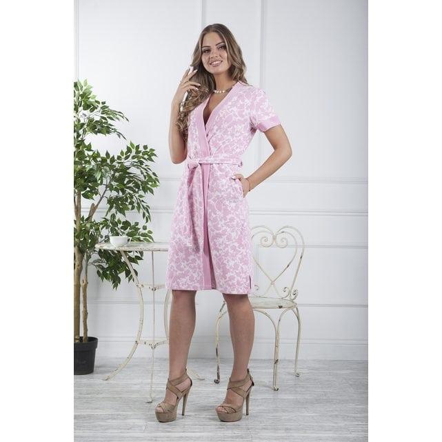 Средней длины женский халат Five Wien Marta розовый
