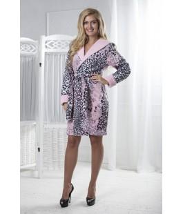 Женский халат с капюшоном print леопард мини розовый