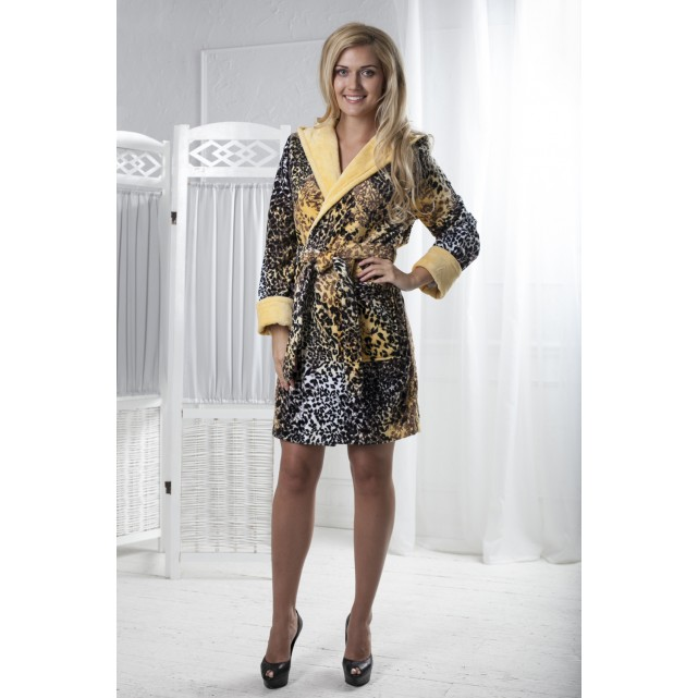 Короткий женский халат Five Wien print леопард мини желтый 215