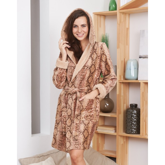 Короткий женский халат Five Wien print snake мини бежевый 215