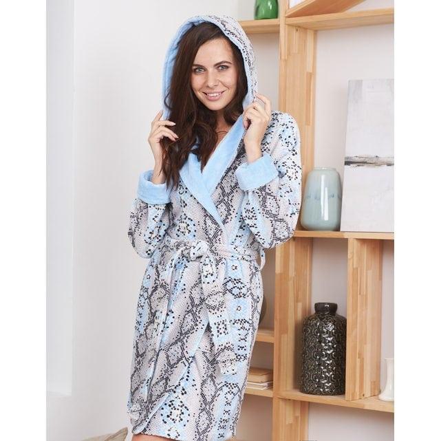 Короткий женский халат Five Wien print snake мини голубой 215