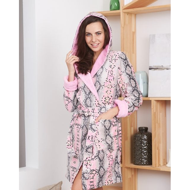 Короткий женский халат Five Wien print snake мини розовый 215